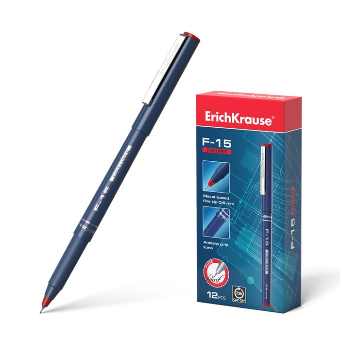 Ручка капиллярная Erich Krause F-15, узел 0.6 мм, чернила красные, длина линии письма 400м