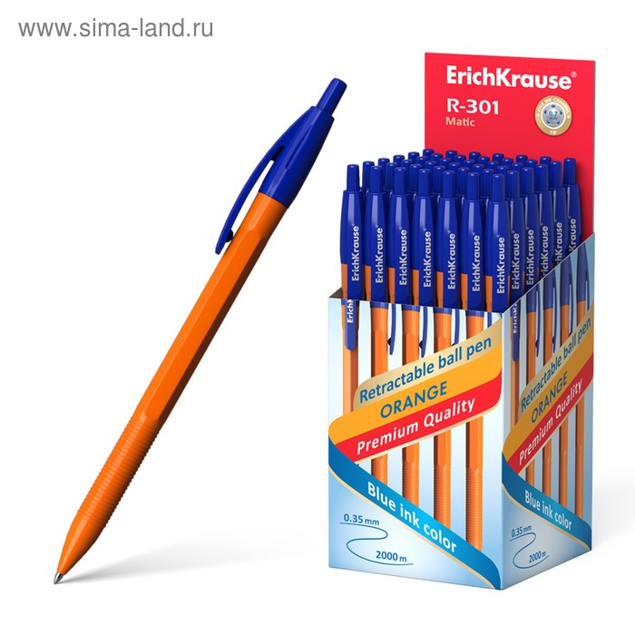Ручка шариковая автомат Erich Krause R-301 MATIC Orange сетржень синий 1.0 мм EK 38512
