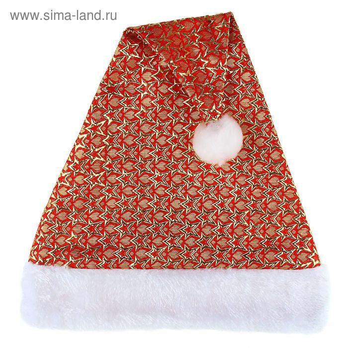 """Колпак новогодний """"Звёздный"""" красный"""