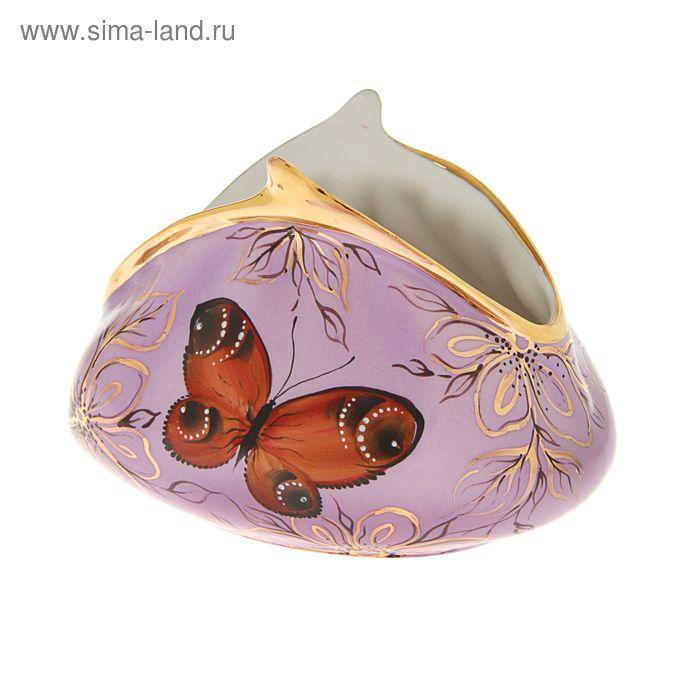 """Сувенир фарфор """"Кошелек с бабочками"""" сиреневый большой"""
