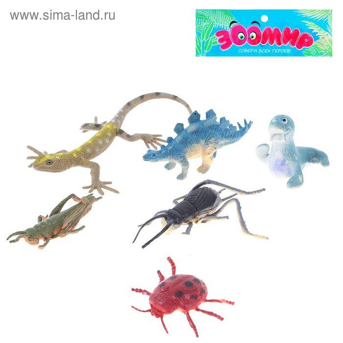 Набор животных и насекомых, 6 предметов, МИКС
