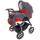 Коляска 2 в 1 ZOOM II: люлька, прогулочное сиденье, дождевик, москитная сетка, сумка, цвет серый с красным