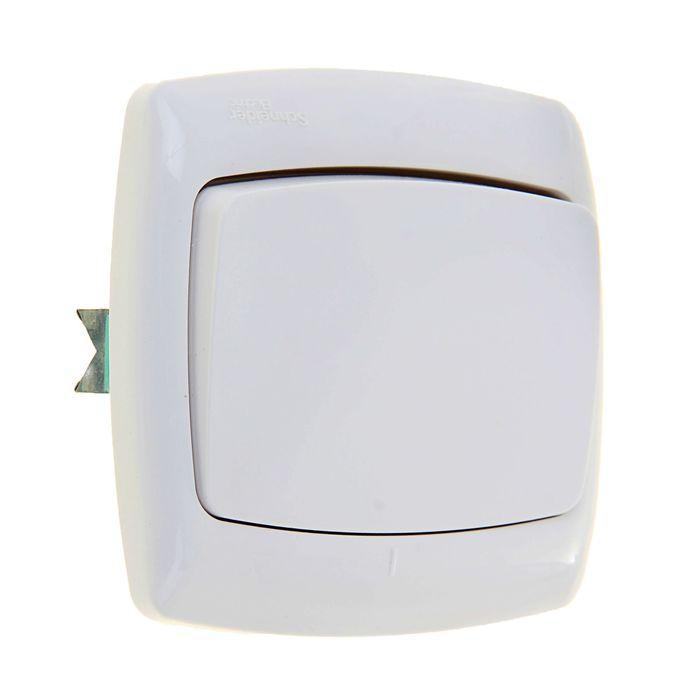 """Выключатель """"Рондо"""" SchE S16-067-BI, 6 А, 1 клавиша, скрытый, цвет белый"""