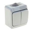 """Выключатель """"Этюд"""" SchE BA10-042C, 10 А, 2 клавиши, наружный, IP44, цвет серый"""