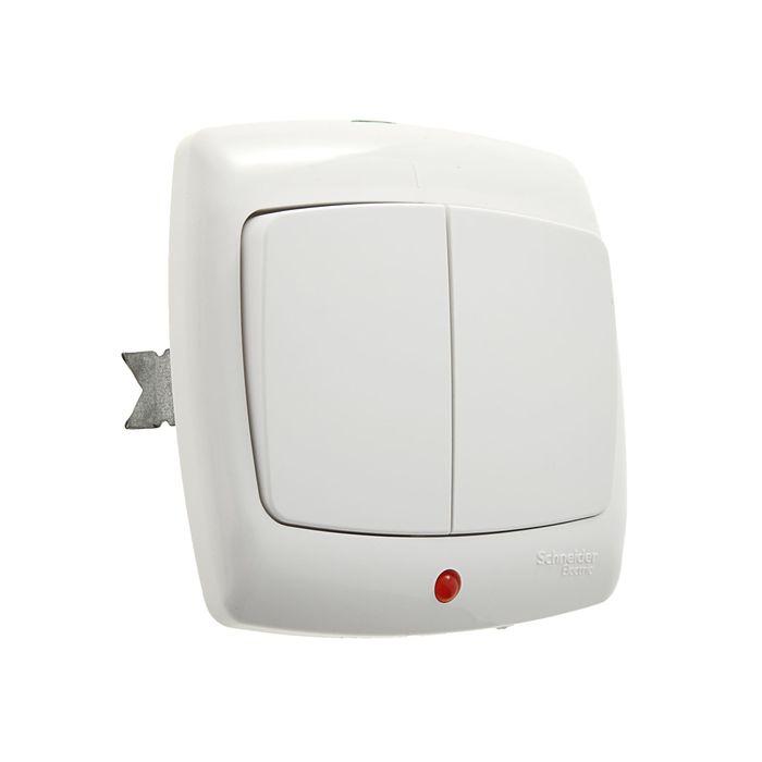 """Выключатель """"Рондо"""" SchE S56-051-BI, 6 А, 2 клавиши, скрытый, с индикатором, цвет белый"""