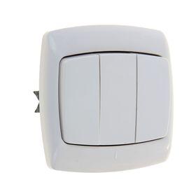 """Выключатель """"Рондо"""" SchE VS05U-321-BI, 10 А, 3 клавиши, скрытый, цвет белый"""