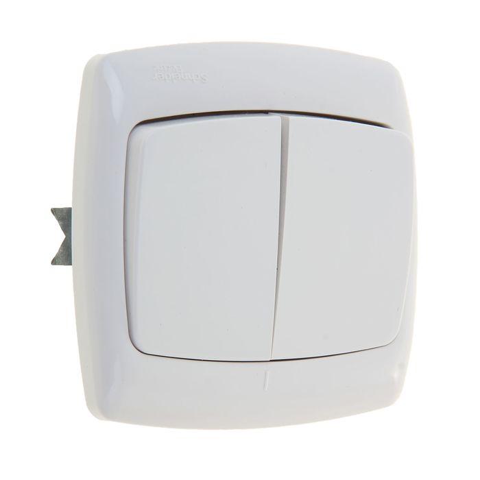 """Выключатель """"Рондо"""" SchE S56-052-BI, 6 А, 2 клавиши, скрытый, цвет белый"""