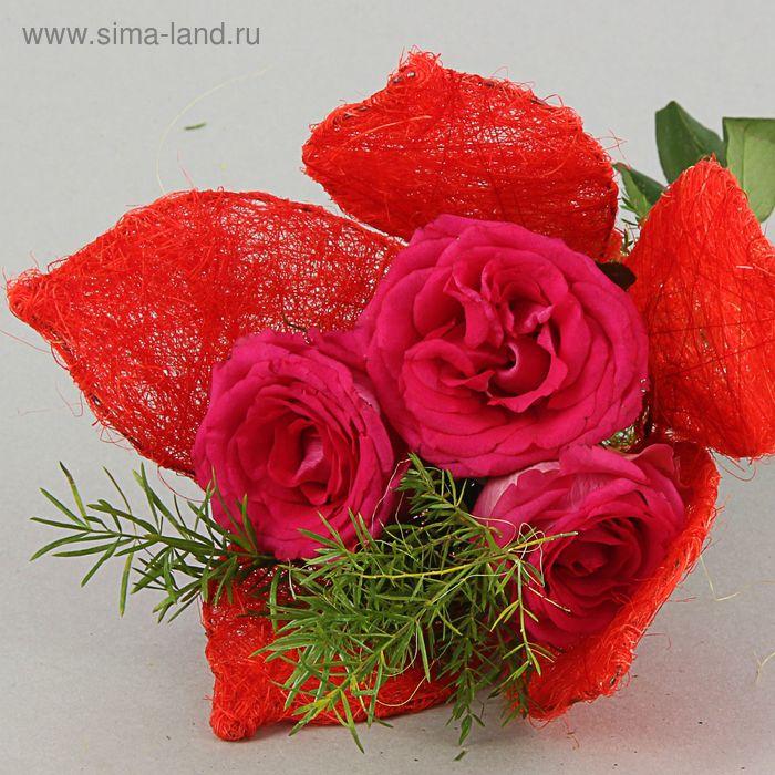 """Каркас для букета """"Цветок"""" 25 см, сизаль, красный"""