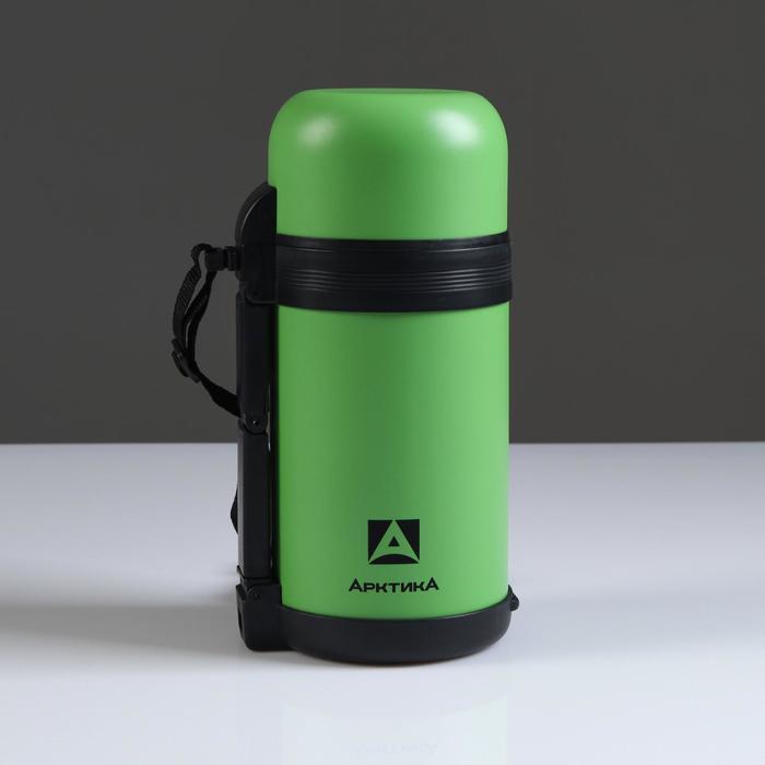 """Термос """"Арктика"""", 1 л, вакуумный, универсальный, 2 чашки, хаки, микс"""