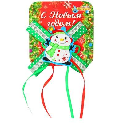 """Карнавальный зажим """"Снеговик с бантиком"""""""