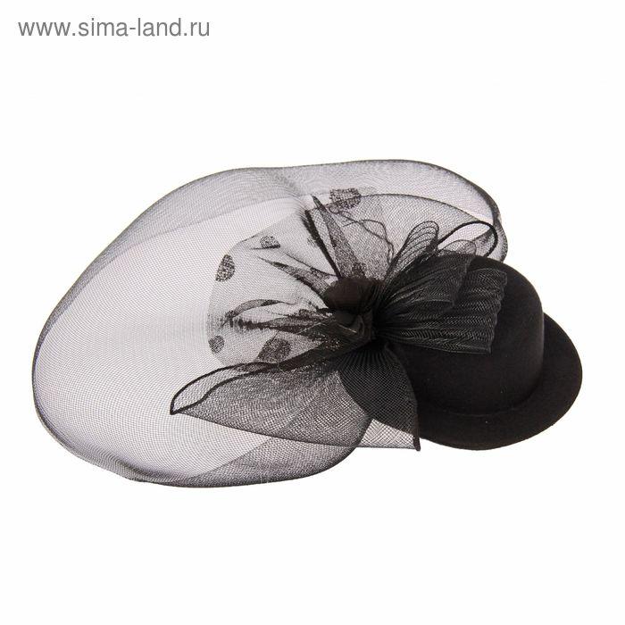 """Карнавальный зажим """"Загадка"""" шляпка и вуалетка с бантом, цвет черный"""