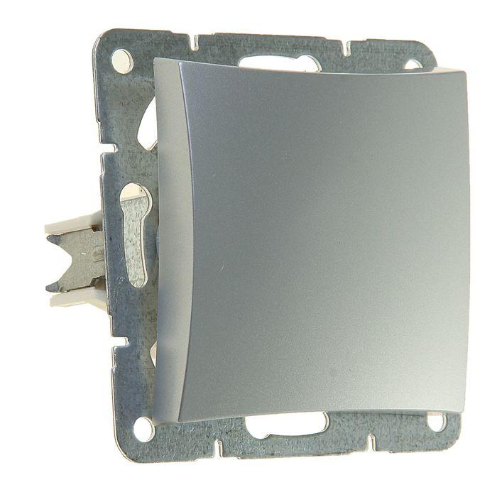 """Выключатель """"Дуэт"""" SchE WDE000311, 10 А, 1 клавиша, скрытый, цвет серебро"""