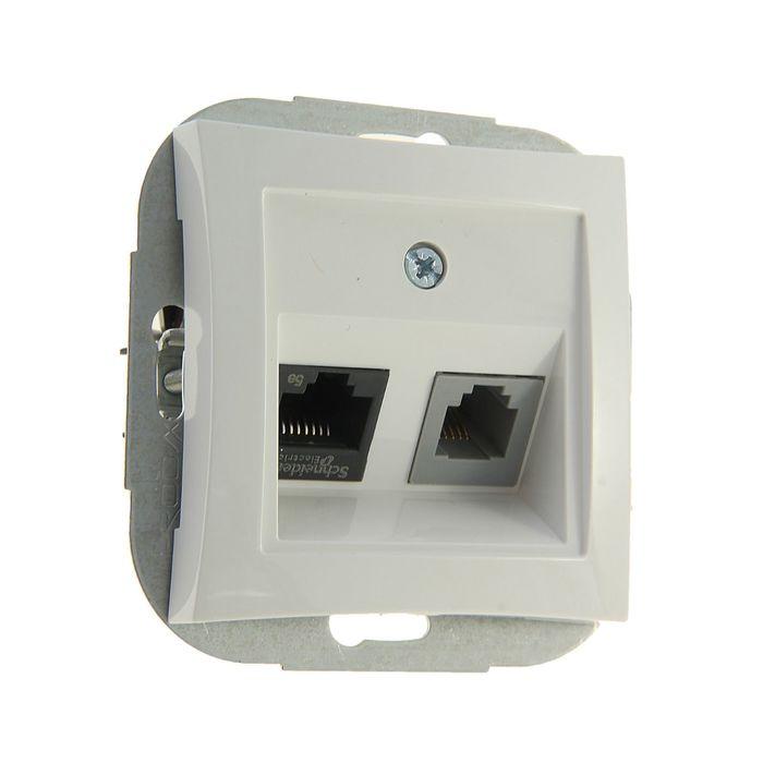 "Розетка телефонная/комп. ""Дуэт"" SchE WDE000185, RJ11/RJ45, двухместная, скрытая, цвет белый"