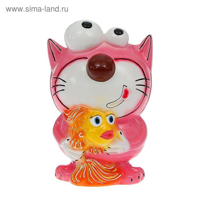 """Копилка """"Кот с рыбкой"""" розовая, глянец"""