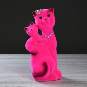 """Копилка """"Кошка Сьюзи-мама"""", покрытие флок, розовая, 28 см"""