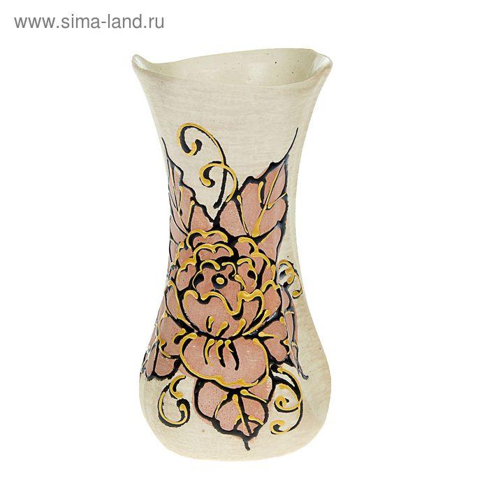 """Ваза """"Румба"""" малая, цветы, шамот, глазурь"""