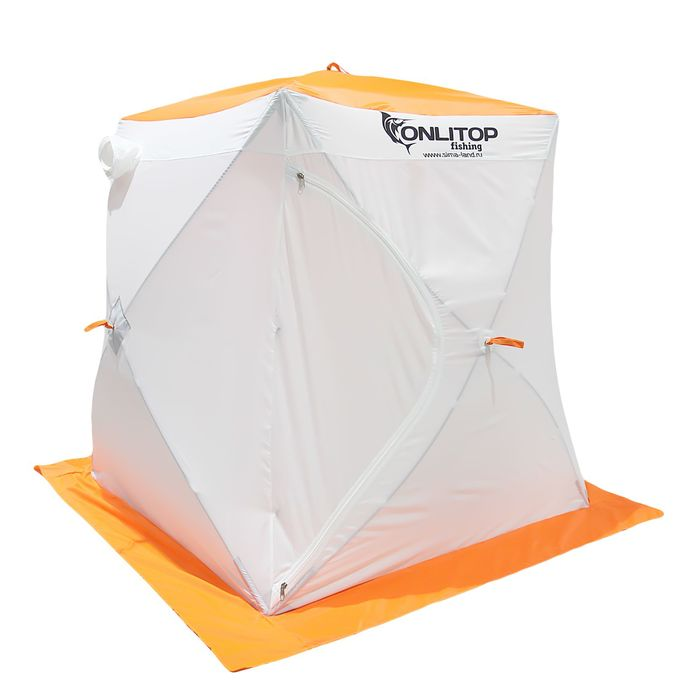 Палатка «Призма Стандарт» 150, двухслойная, цвет белый/оранжевый