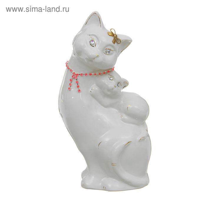 """Копилка """"Кошка с котёнком"""" цепочка, глазурь, белая"""