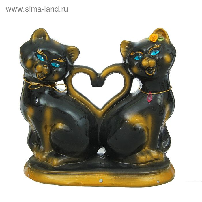 """Копилка """"Чёрные коты с сердцем"""" пара, глянец"""