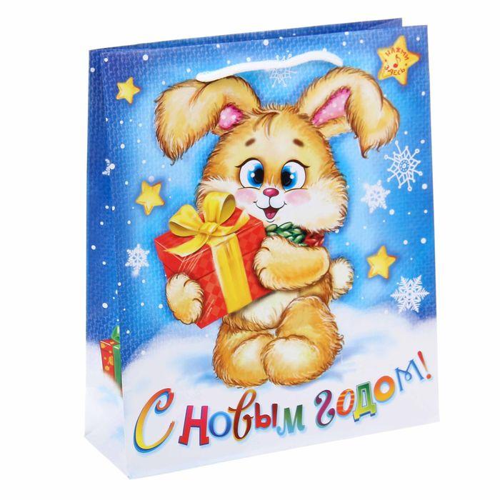 Пакет подарочный вертикальный музыкальный «Подарок от зайчика», 23 × 27 см