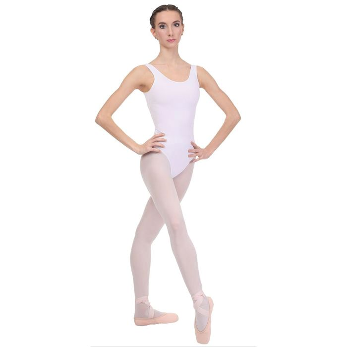 Купальник гимнастический, на лямках, размер 28, цвет белый
