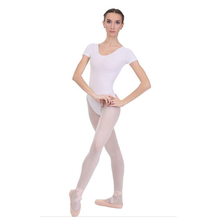 Купальник гимнастический, с коротким рукавом, размер 28, цвет белый