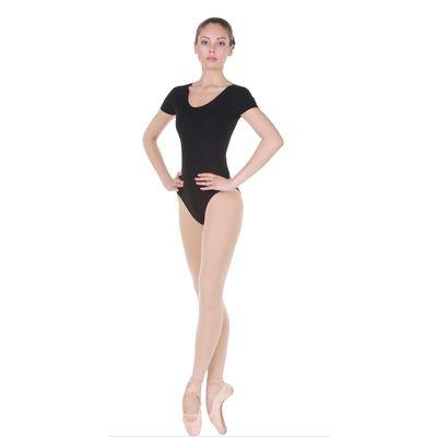 Купальник гимнастический, с коротким рукавом, размер 42, цвет чёрный
