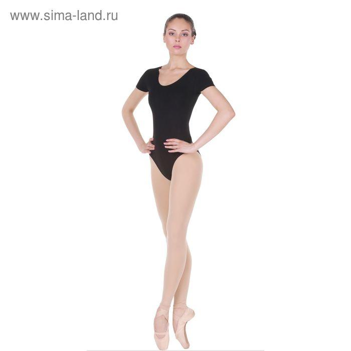 Купальник гимнастический, с коротким рукавом, размер 28, цвет чёрный
