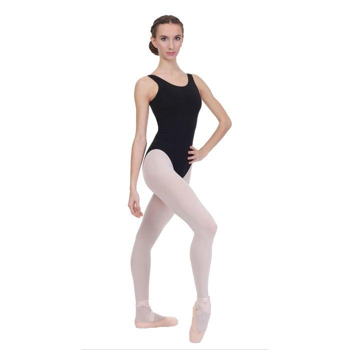 Купальник гимнастический, на лямках, размер 34, цвет чёрный