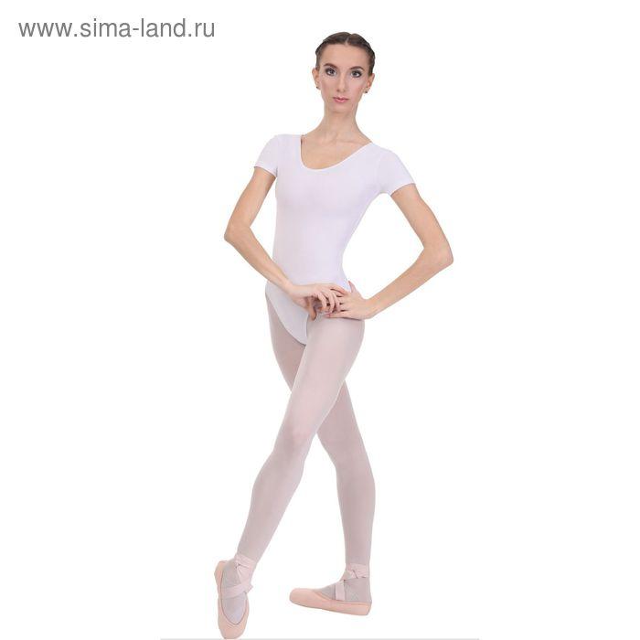 Купальник гимнастический, с коротким рукавом, размер 36, цвет белый