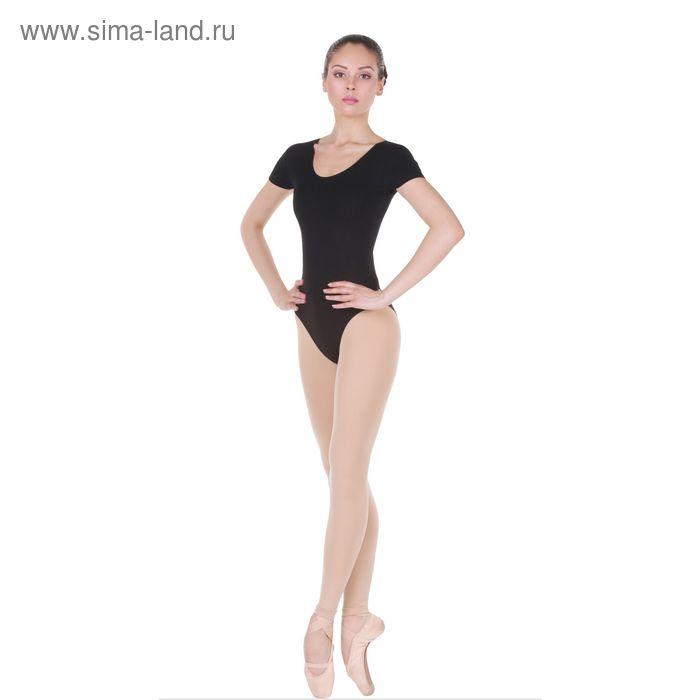 Купальник гимнастический, с коротким рукавом, размер 32, цвет чёрный