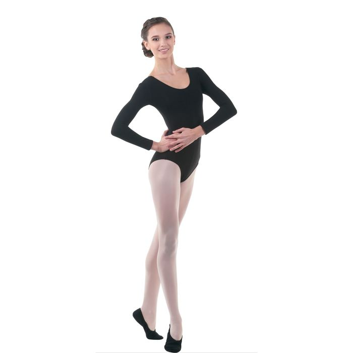 Купальник гимнастический, с длинным рукавом, размер 46, цвет чёрный