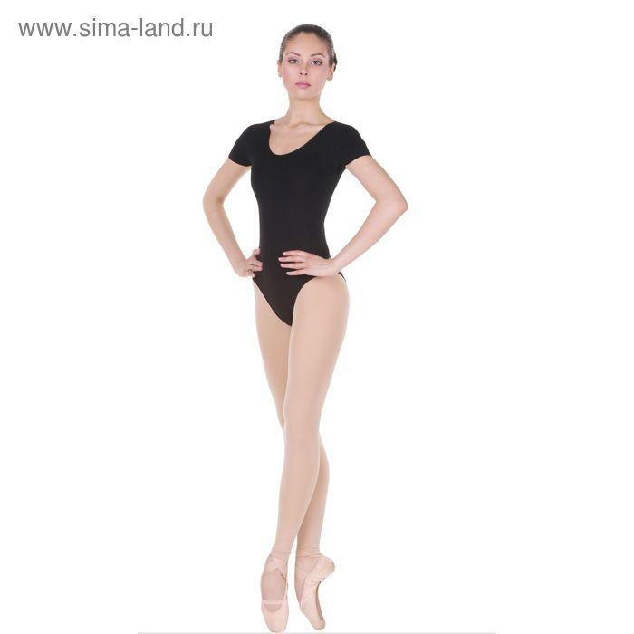 Купальник гимнастический, с коротким рукавом, размер 46, цвет чёрный