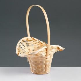 Корзина плетёная, бамбук, натуральный цвет, (шляпка с изгибом) Ош