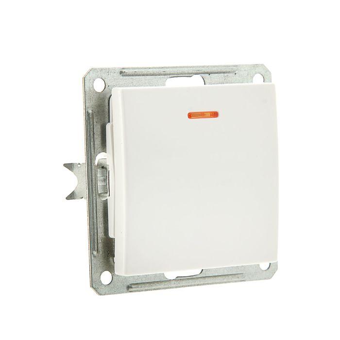 Выключатель одноклавишный скрытый в рамку с индикацией, белый