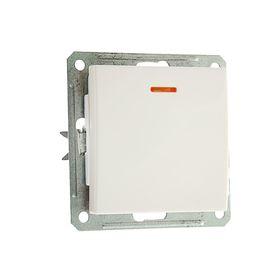 Выключатель одноклавишный скрытый в рамку с индикацией, бежевый