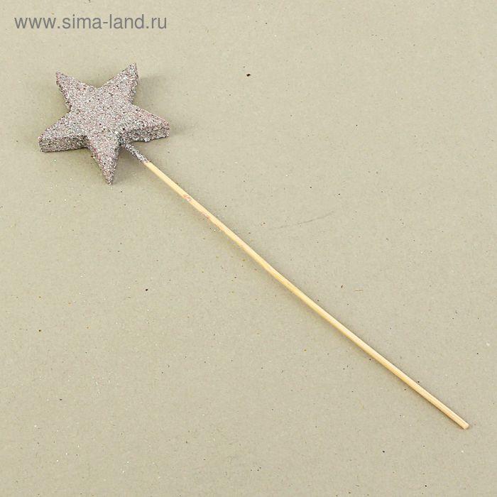 """Вставка """"Звезда 5 лучей"""", серебряный блеск, 6 см"""