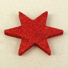 """Декор из пенопласта """"Звезда 6 лучей"""" красный блеск, 10 см"""