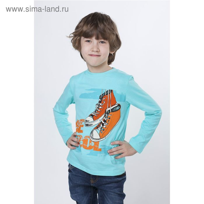 """Футболка для мальчика """"Кеды"""" с длинным рукавом, рост 134-140 см, цвет голубой 804-AZ"""