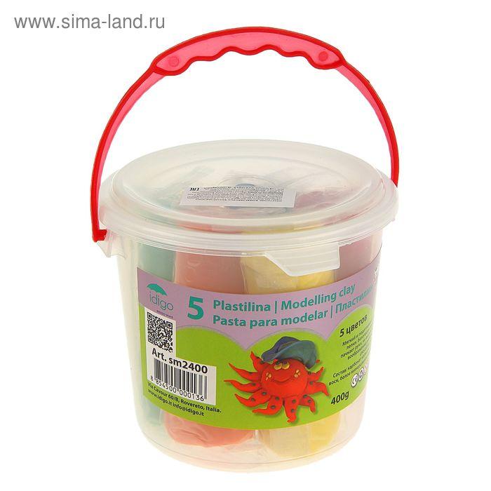 Пластилин 5 цветов по 80г, в пластиковом ведре