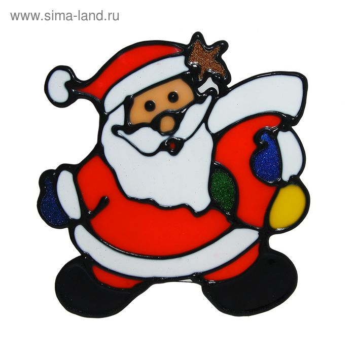 """Наклейка на стекло """"Дед Мороз с носком для подарков"""""""