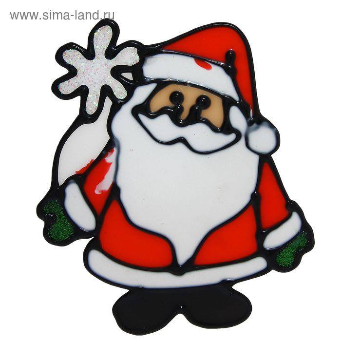 "Наклейка на стекло ""Дед Мороз с ромашкой"""