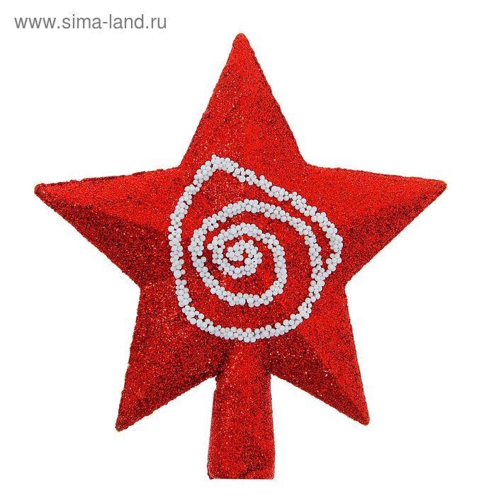 "Звезда на ёлку ""Красная с узором"""