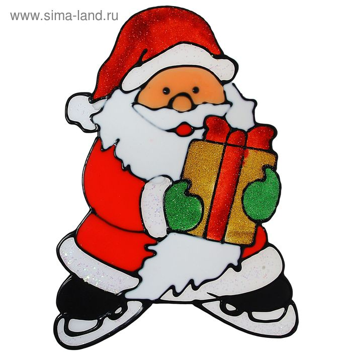 "Наклейка на стекло ""Дед Мороз на коньках"""