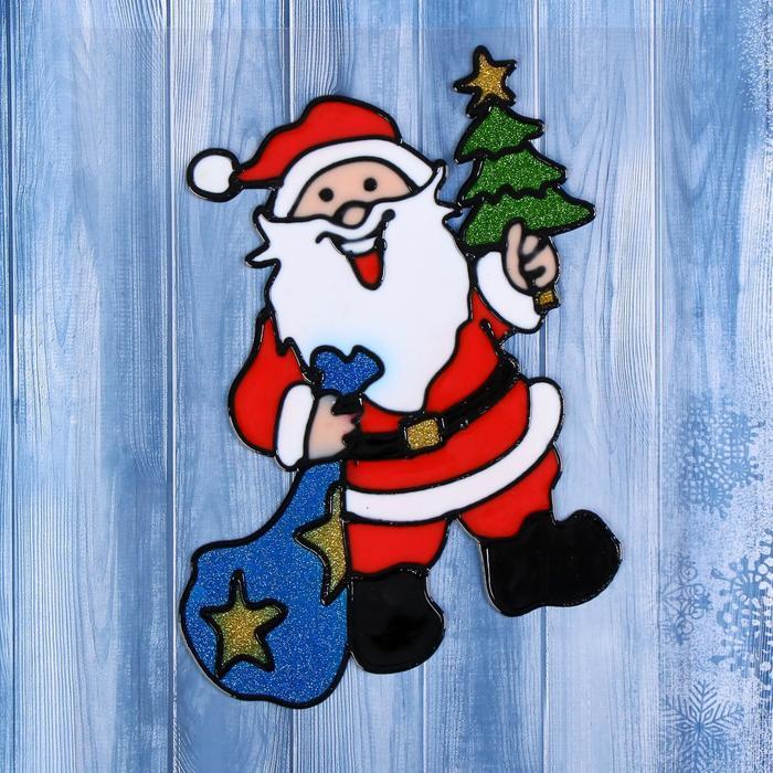 "Наклейка на стекло ""Дед Мороз с ёлкой и подарками"""