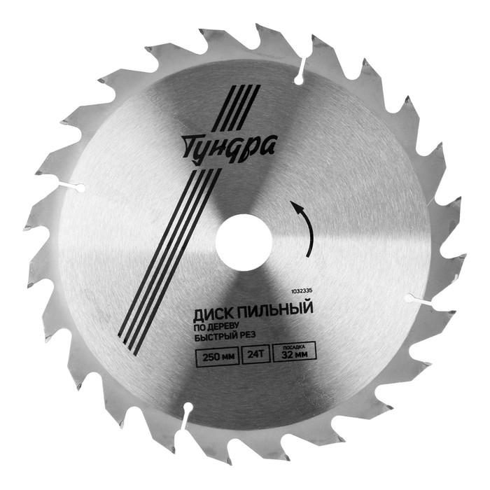 Диск пильный по дереву TUNDRA, 250 х 32 х 24 зуба + кольцо 20/32 и 16/32