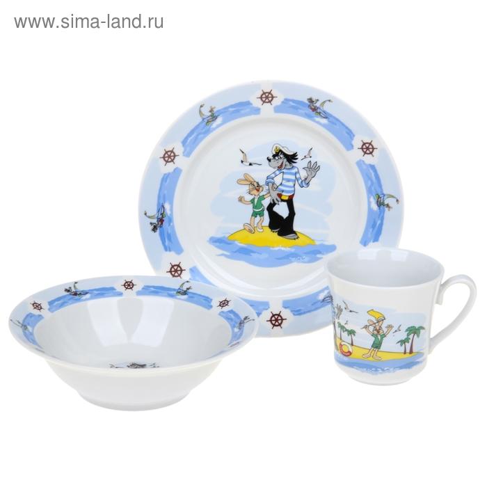 """Набор посуды детский """"Ну, погоди!"""", 3 предмета: кружка 200 мл, салатник 300 мл, тарелка d=20 см"""