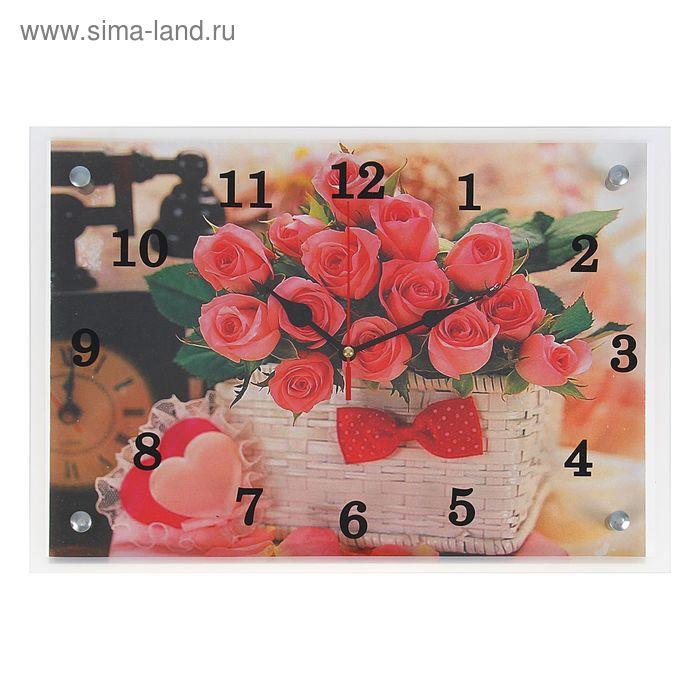 """Часы настенные прямоугольные """"Розы в корзинке"""" 25х35 см"""