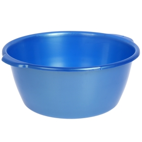 Таз круглый 16 л, цвет голубой с перламутром