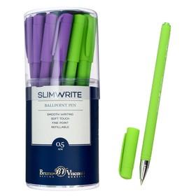 Ручка шариковая SlimWrite Special, узел 0.5 мм, синие чернила, матовый корпус Silk Touch, МИКС